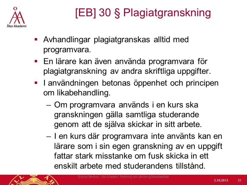 [EB] 30 § Plagiatgranskning